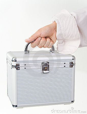 Female hand with a plastic case