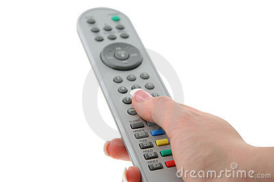 Female hand with remote control
