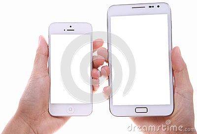 Female hand showing two different smart phone blank screen