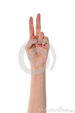 Free Female Hand Showing Two Fingers Isolated On White Royalty Free Stock Photo - 30685835