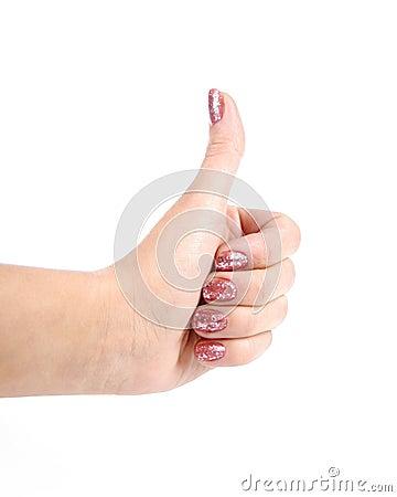 Female hand shows gesture ok