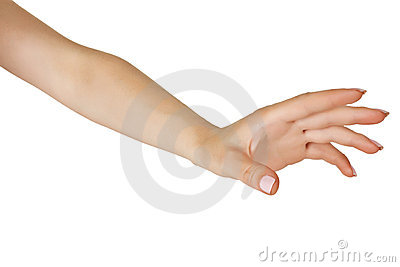 Female hand stretched horizontally