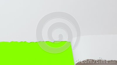 Female hand tearing off part of white cardboard banner, concept advertising, revealing green screen with copy space stock video