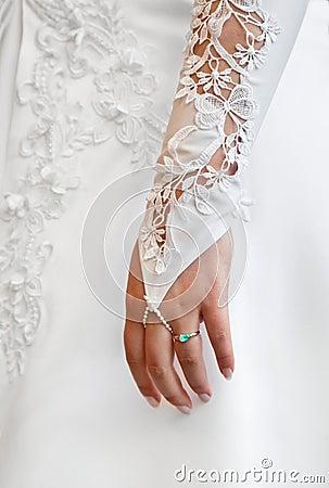 Female hand - wedding glove