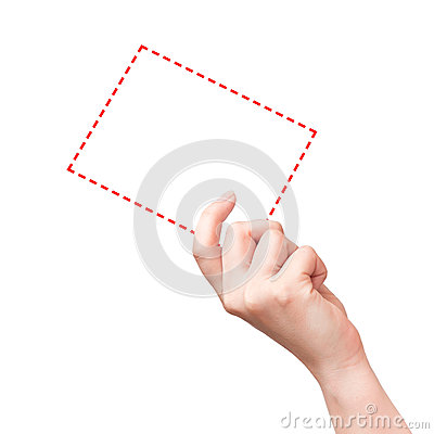 Female hand with the white red virtual card