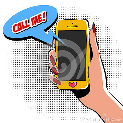 Free Female Hand With Phone Pop Art Vector Illustration. Comic Book Style Imitation. Colorful Royalty Free Stock Images - 76837529