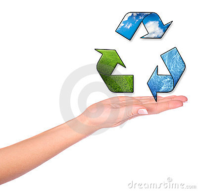 Female hands and conceptual recycling symbol