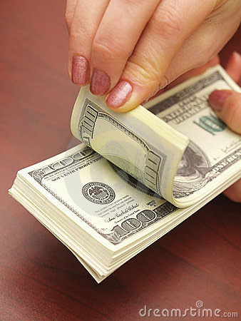 Free Female Hands Consider Dollars Stock Photography - 12889842
