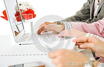Female hands desk