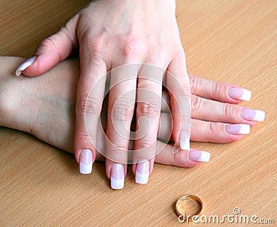 Female hands after a divorce