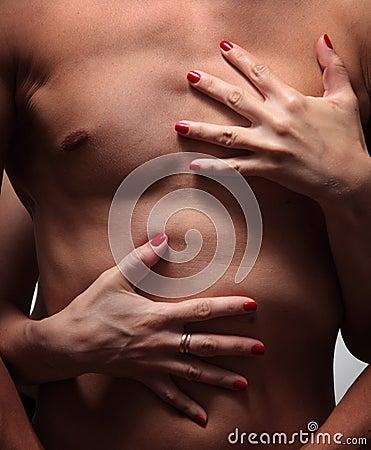 Female hands embrace a muscular male torso