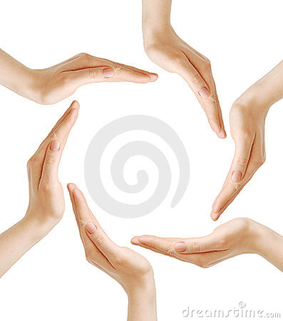 Female hands forming the recycling symbol