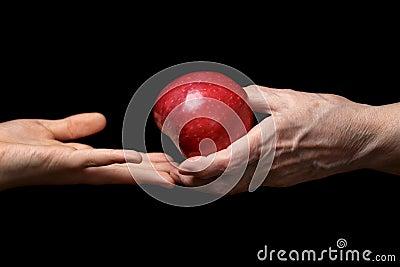 Female hands giving apple