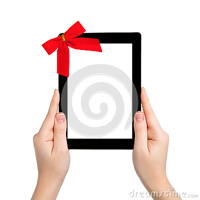 Free Female Hands Holding A Tablet With Isolated Screen And A Red Gif Stock Images - 28771274
