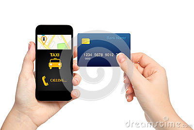 Female hands holding phone with interface taxi and credit card o