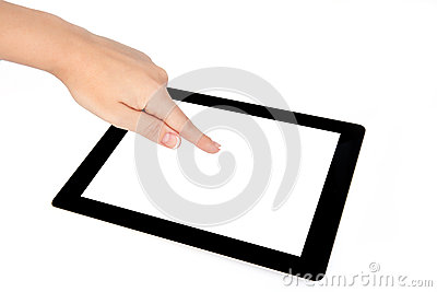 Female hands touches the screen on a tablet