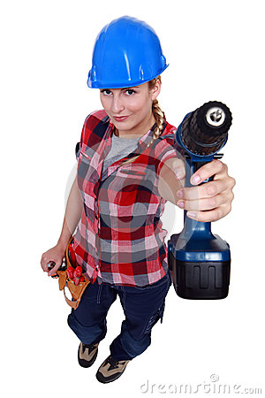 A female handyman