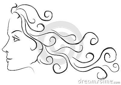 Female Head Long Hair Profile