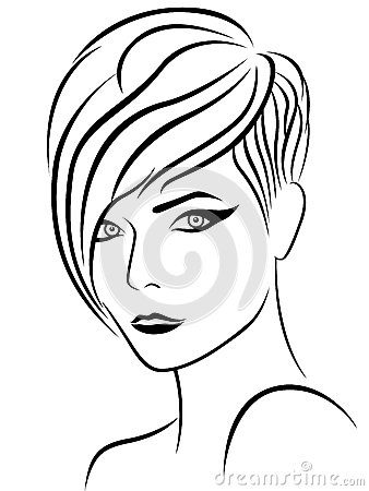 Female head with nice elegant hairstyle, sketch drawing vector outline ...