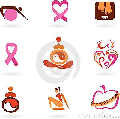 Female health icons and logos