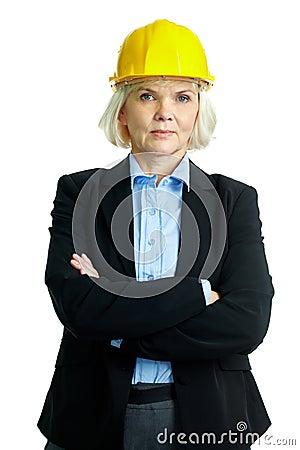 Female in helmet