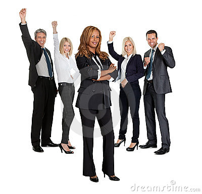 Female with her business colleagues