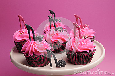 Female High Heel Stiletto Shoes Decorated Pink And Black