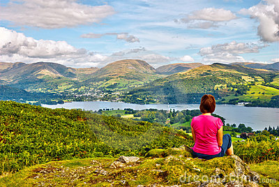 Female hiker overlooking Lake Windermere