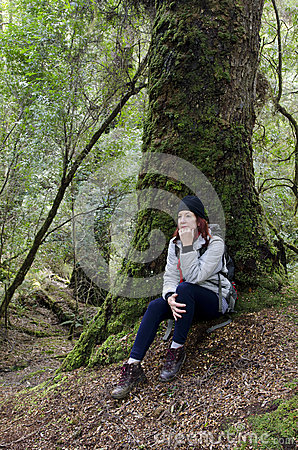 Female hiker in tasmanian wilderness