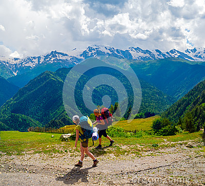 Female hikers treking in Svaneti