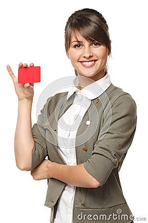 Female holding blank credit card