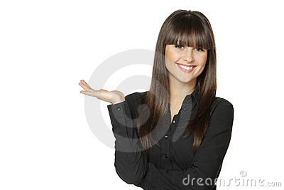 Female holding blank space for product on the palm