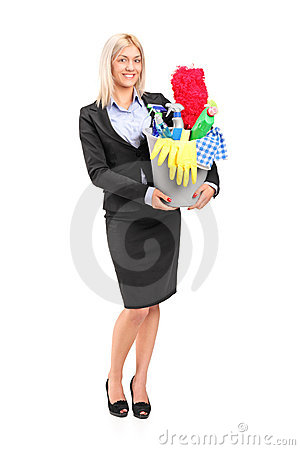 Female holding a bucket with cleaning supplies