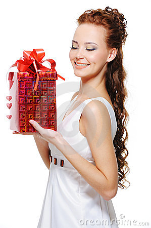 female holding in hands the christmas present