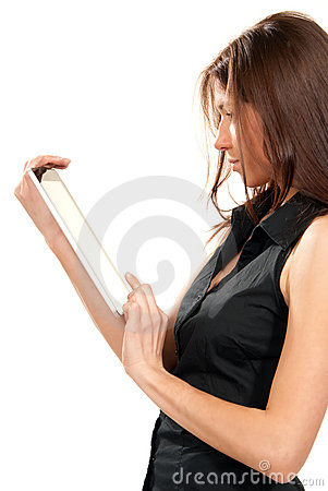 Female holding new electronic tablet touch pad