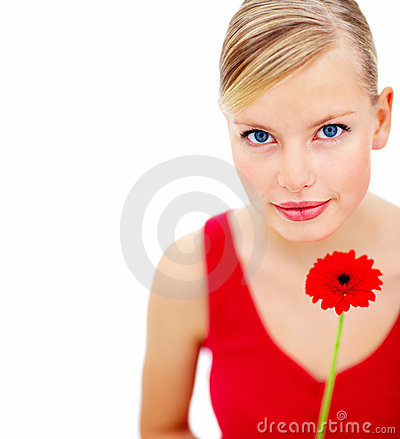 Female holding an red rose over white background