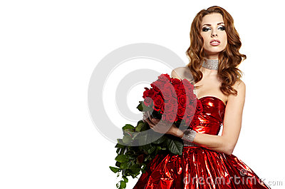 female holding red roses bouquet