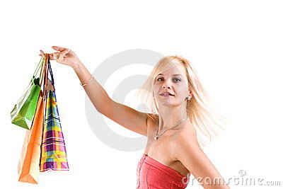 Female holding shopping bags