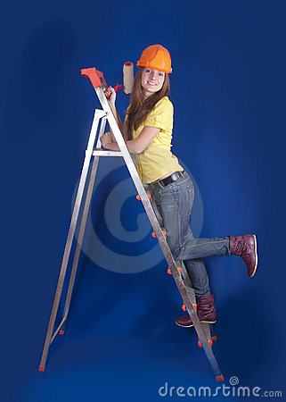 Female house painter
