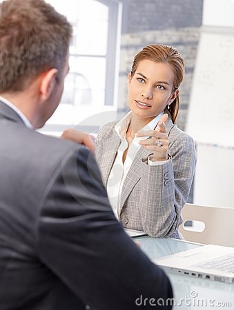 Free Female Hr Manager Interviewing Male Applicant Royalty Free Stock Image - 22049616