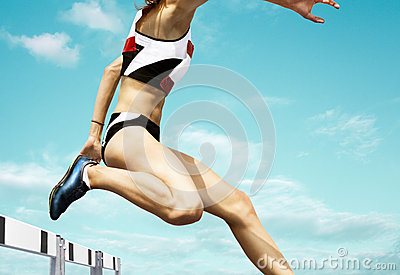 Female hurdle runner