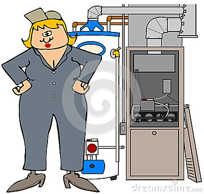 Female HVAC technician