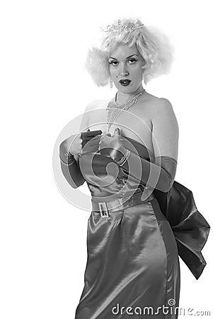 Female impersonator in black and white