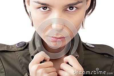 Female in jacket portrait