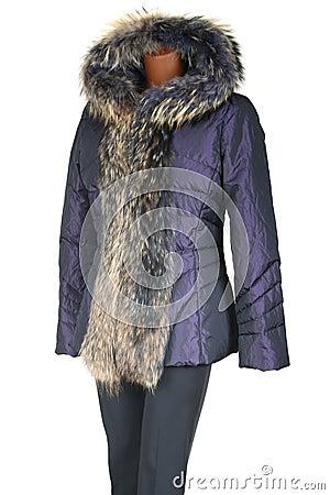 Female jacket trimmed by fur