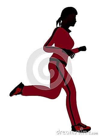 Female Jogger Illustration Silhouette
