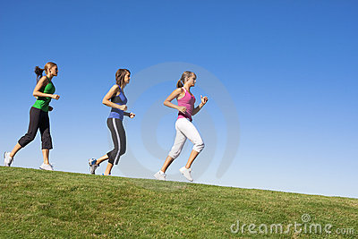 Female Joggers on the horizon