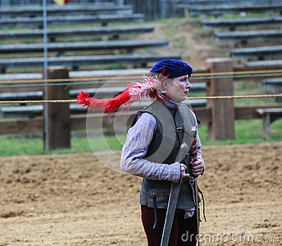 Female Jousting Assistant MD Renaissance Festival Editorial Stock Image
