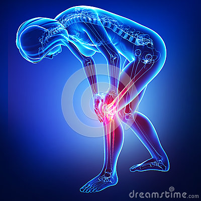 Female knee and joints pain  in blue