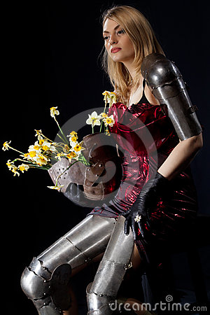 Female knight in armour